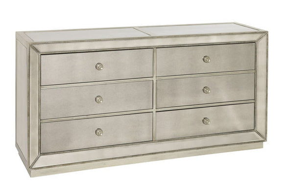 Penthouse 6 Drawer Dresser with antique mirrored.  Great price mirrored furniture