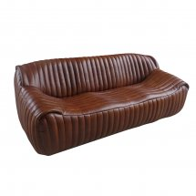 Channel Leather Sleek Sofa