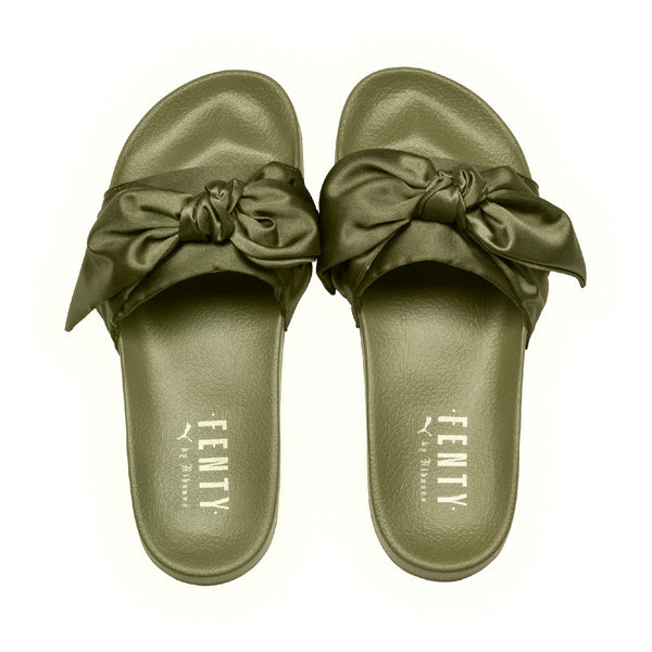 green rihanna bow slide