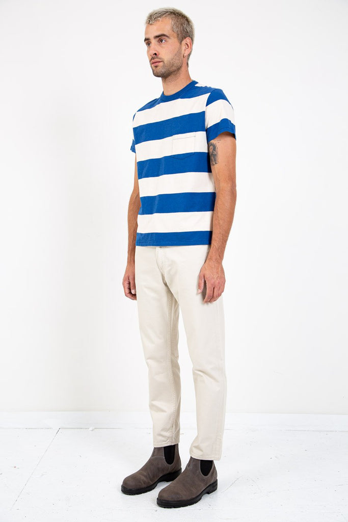LEVI'S VINTAGE CLOTHING-1960'S Striped Tee Blue & White-Men Tees + Tanks-{option1]
