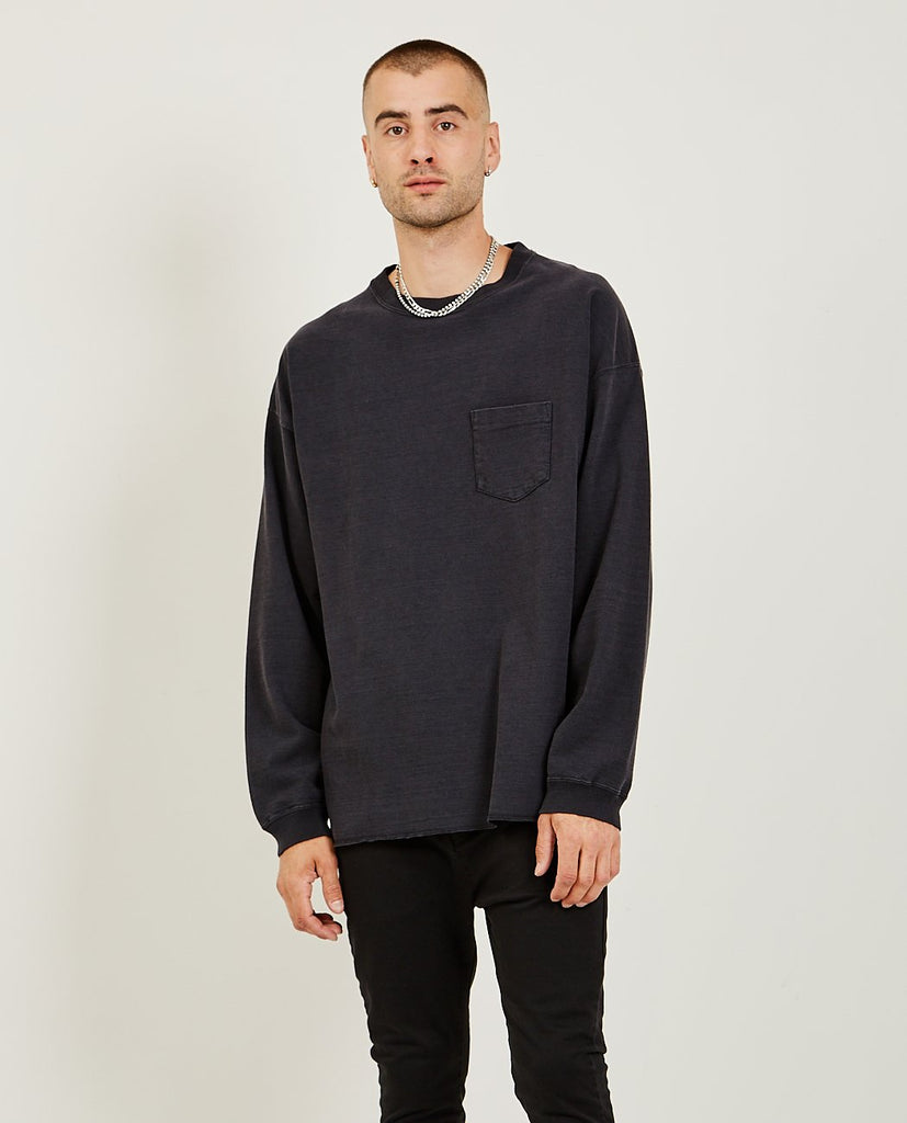 20/2 Long Sleeve Tee Black-REMI RELIEF-American Rag Cie