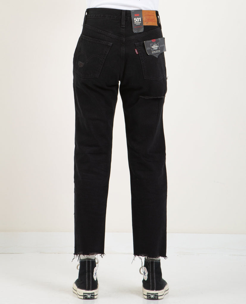 LEVI'S-501 CROPPED BLACK MARK-SALE Women Straight-{option1]