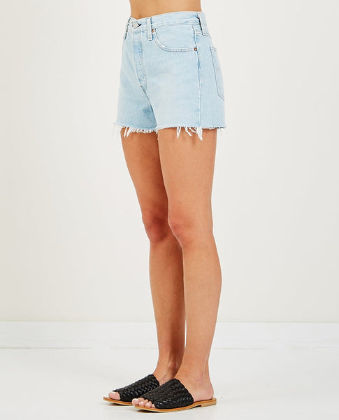 LEVI'S 501 HIGH RISE  SHORT WEAK IN THE KNEES
