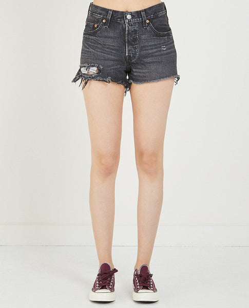 LEVI'S 501 SHORT IN SLASHED BLACK