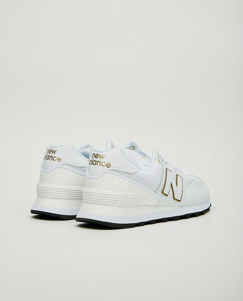 NEW BALANCE-574 WHITE & METALLIC GOLD-Women Sneakers+ Trainers-{option1]