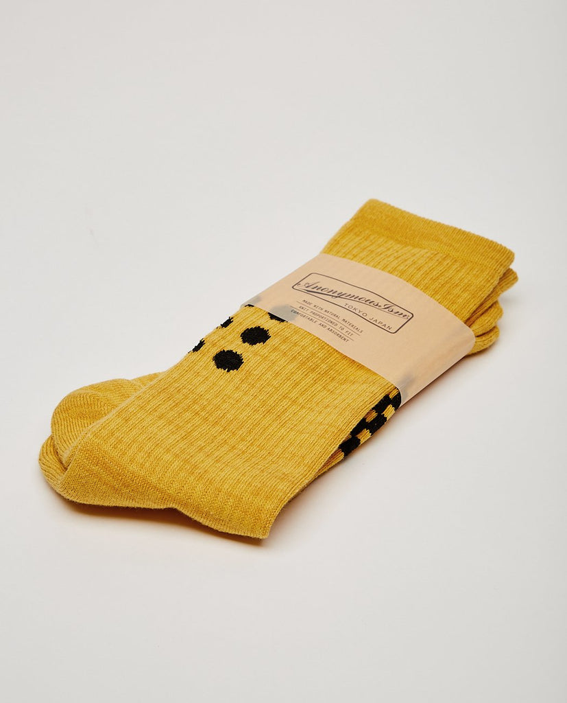 ANONYMOUS ISM 9DOTS CREW SOCK GOLD