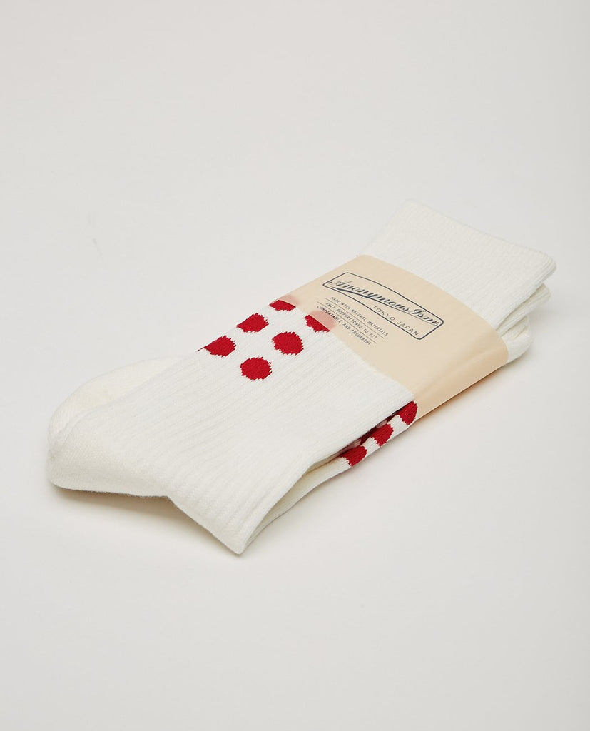ANONYMOUS ISM-9DOTS CREW SOCK OFF WHITE-Men Socks-{option1]