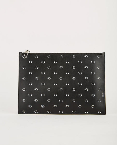 KENZO A4 POUCH SPLIT LEATHER W/MULTI