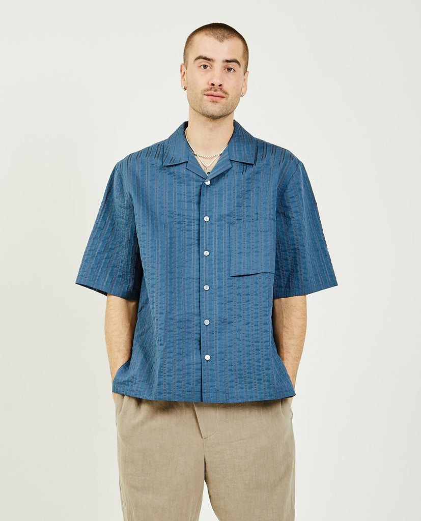 Aloha Shirt Blue Translucent-SK MANOR HILL-American Rag Cie