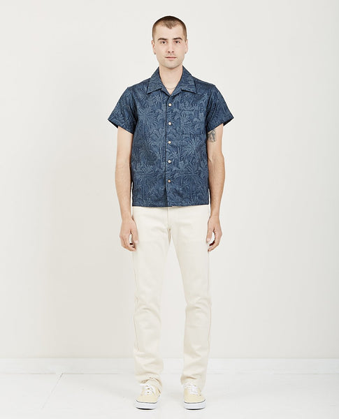 NAKED & FAMOUS Aloha Shirt Double Jacquard Tropical Blue