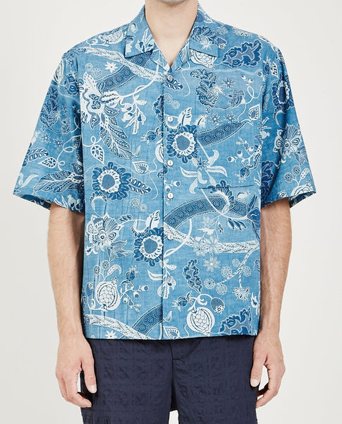 S.K. MANOR HILL ALOHA SHIRT FLORAL INDIGO