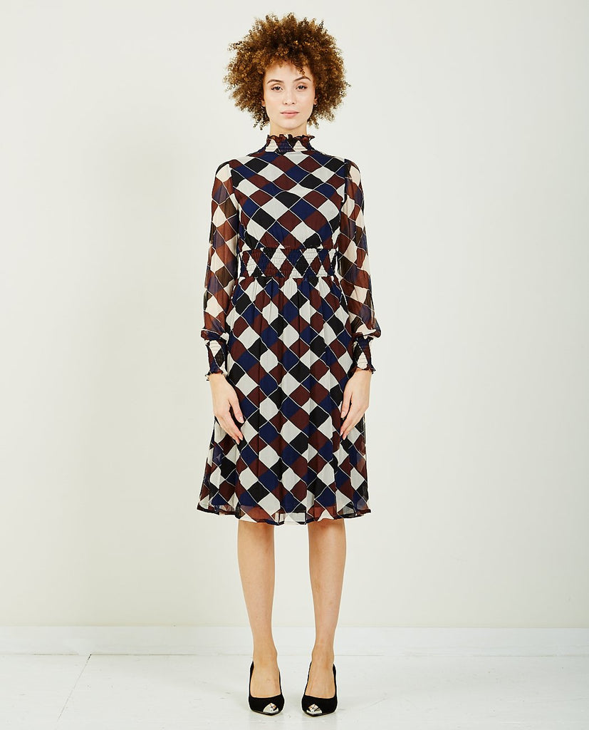 BAUM UND PFERDGARTEN-AMAL CHECK DRESS-DRESSES-{option1]