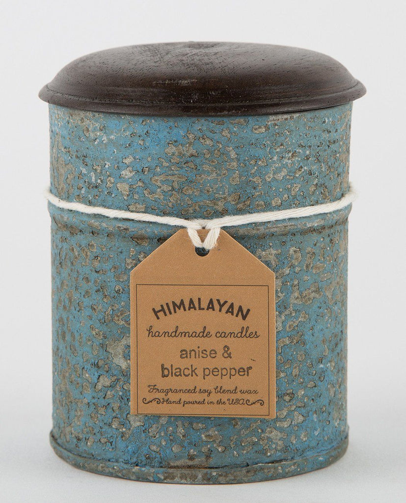ANISE & BLACK PEPPER BLUE TIN CANDLE-HIMALAYAN TRADING POST-American Rag Cie