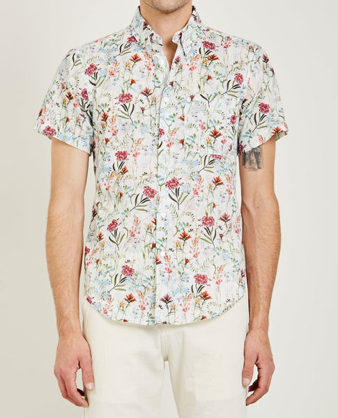 NAKED & FAMOUS ANTIQUE BOTANICAL PAINTING SHIRT WHITE