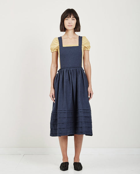 MUSED APRON PINTUCK DRESS