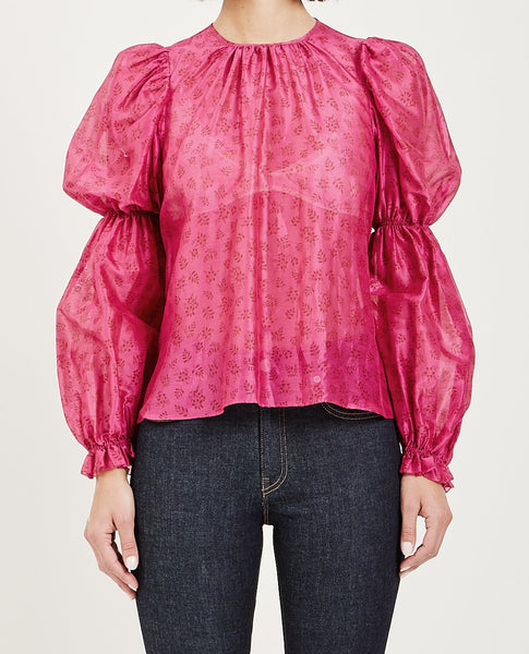 ULLA JOHNSON ASTER BLOUSE FUCHSIA