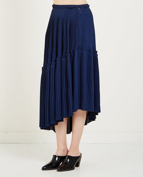 KENZO ASYMMETRIC PLEATED SKIRT