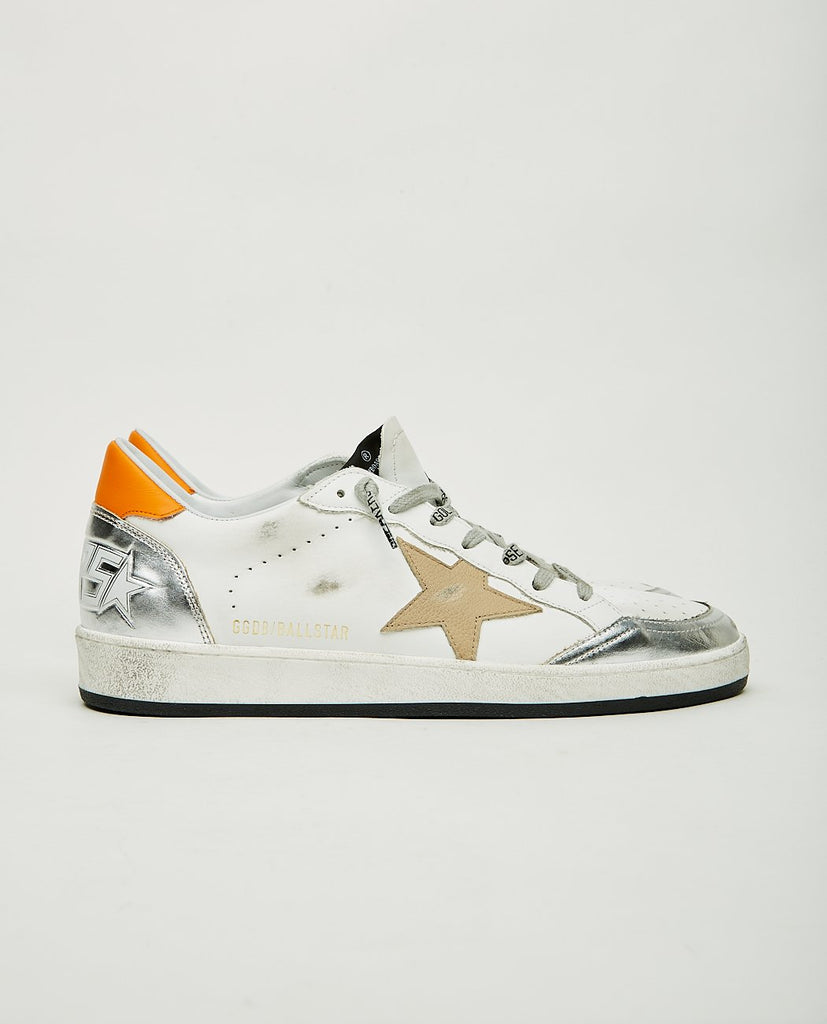 GOLDEN GOOSE-Ball Star White Silver & Orange-Men Sneakers + Trainers-{option1]