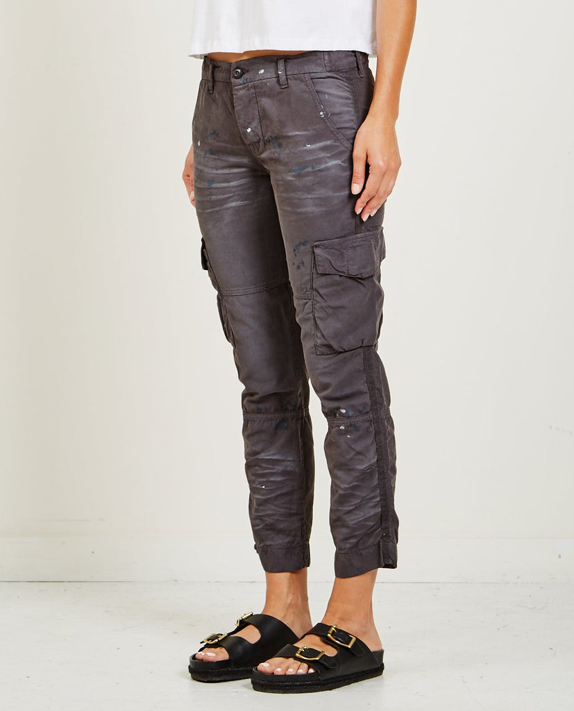 NSF-BASQUIAT CARGO POCKET PANT DISTRESSED FADED BLACK-Women Pants-{option1]