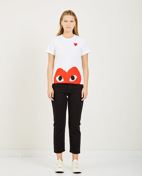 COMME DES GARÇONS PLAY BIG HALF RED HEART PLAY TEE