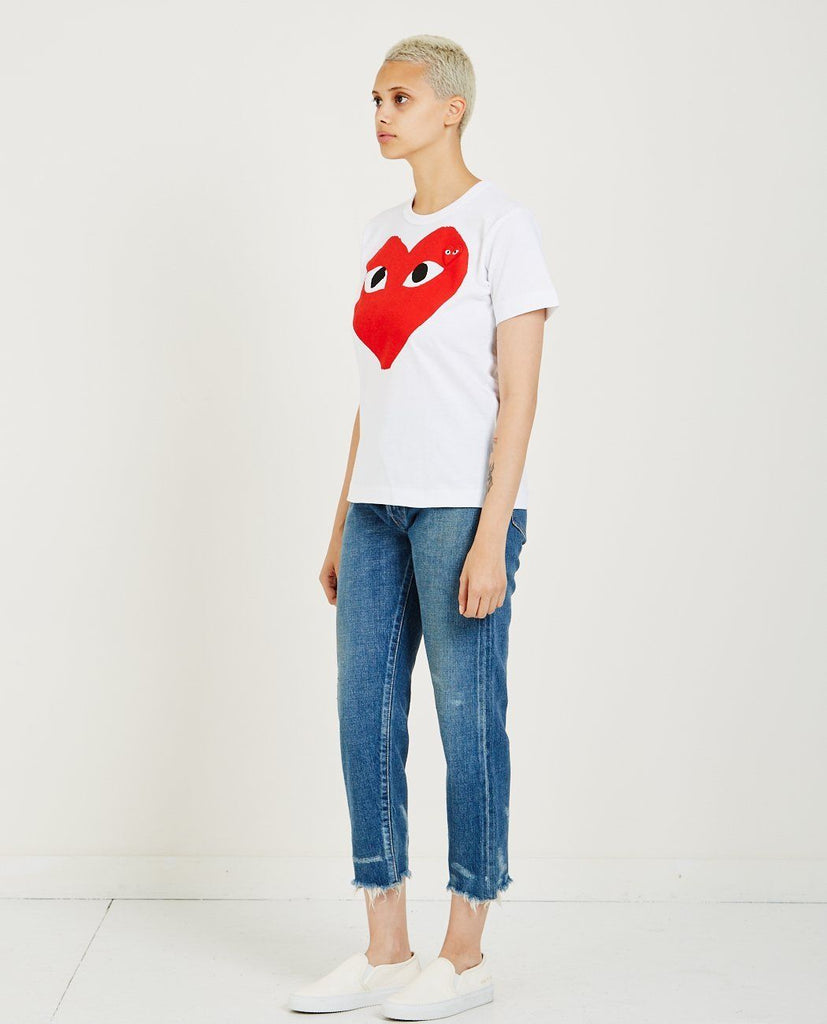 COMME DES GARÇONS PLAY-Big Red Heart Play Tee-Women Tees + Tanks-{option1]