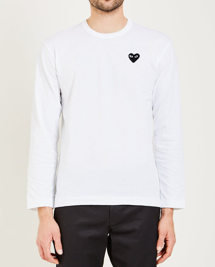 COMME DES GARÇONS PLAY-BLACK HEART LONG SLEEVE TEE-Men Tees + Tanks-{option1]
