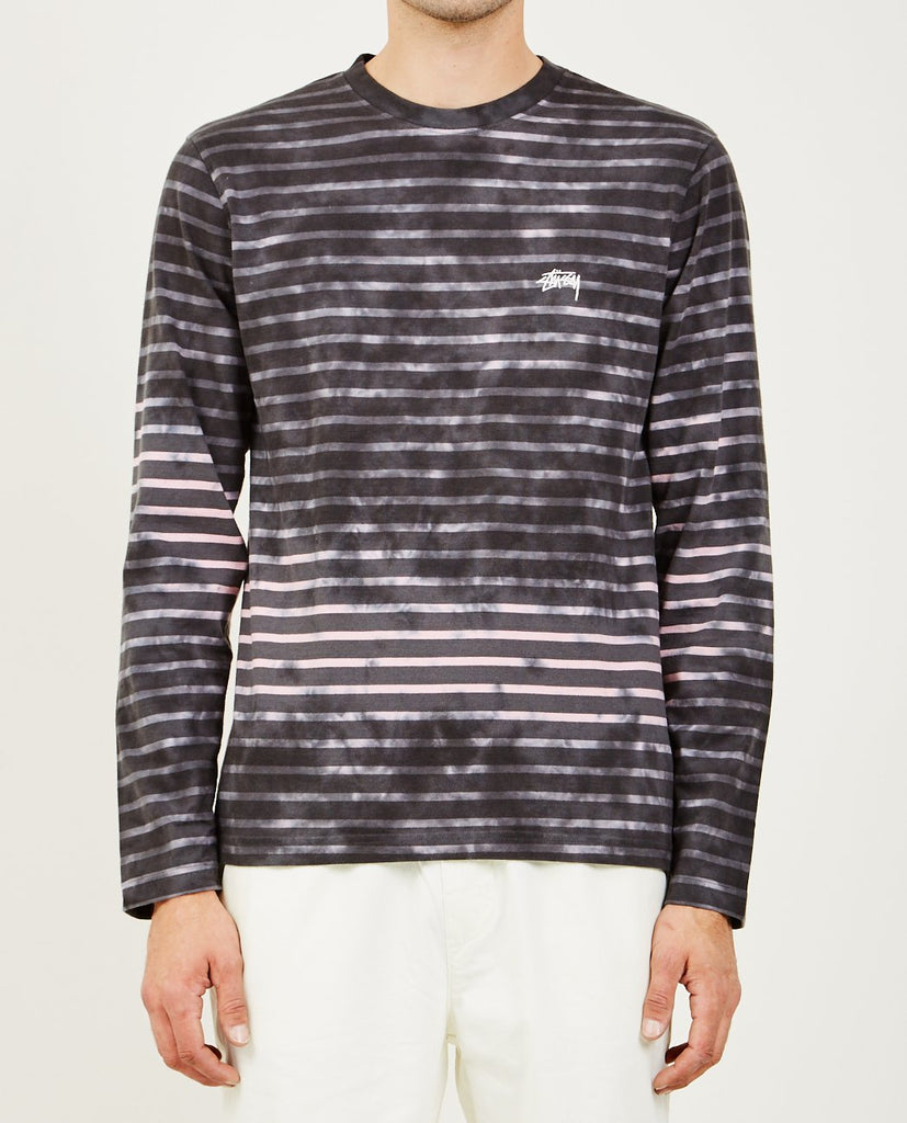 STUSSY-BLEACH STRIPE LONG SLEEVE CREW TEE CHARCOAL-Men Tees + Tanks-{option1]