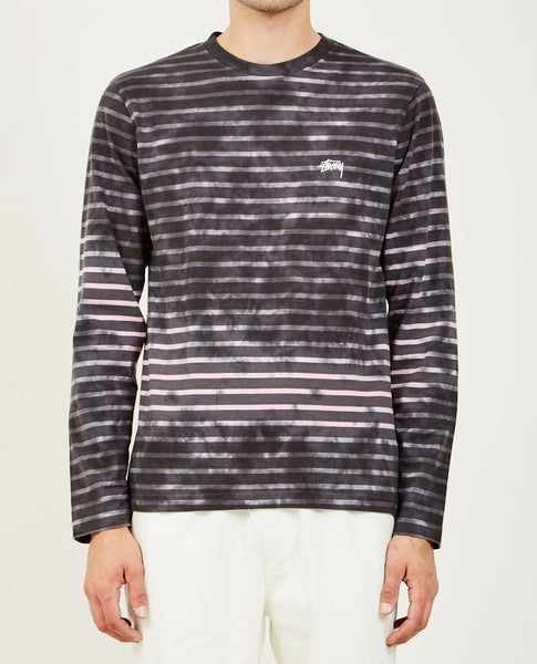 STUSSY BLEACH STRIPE LONG SLEEVE CREW TEE CHARCOAL