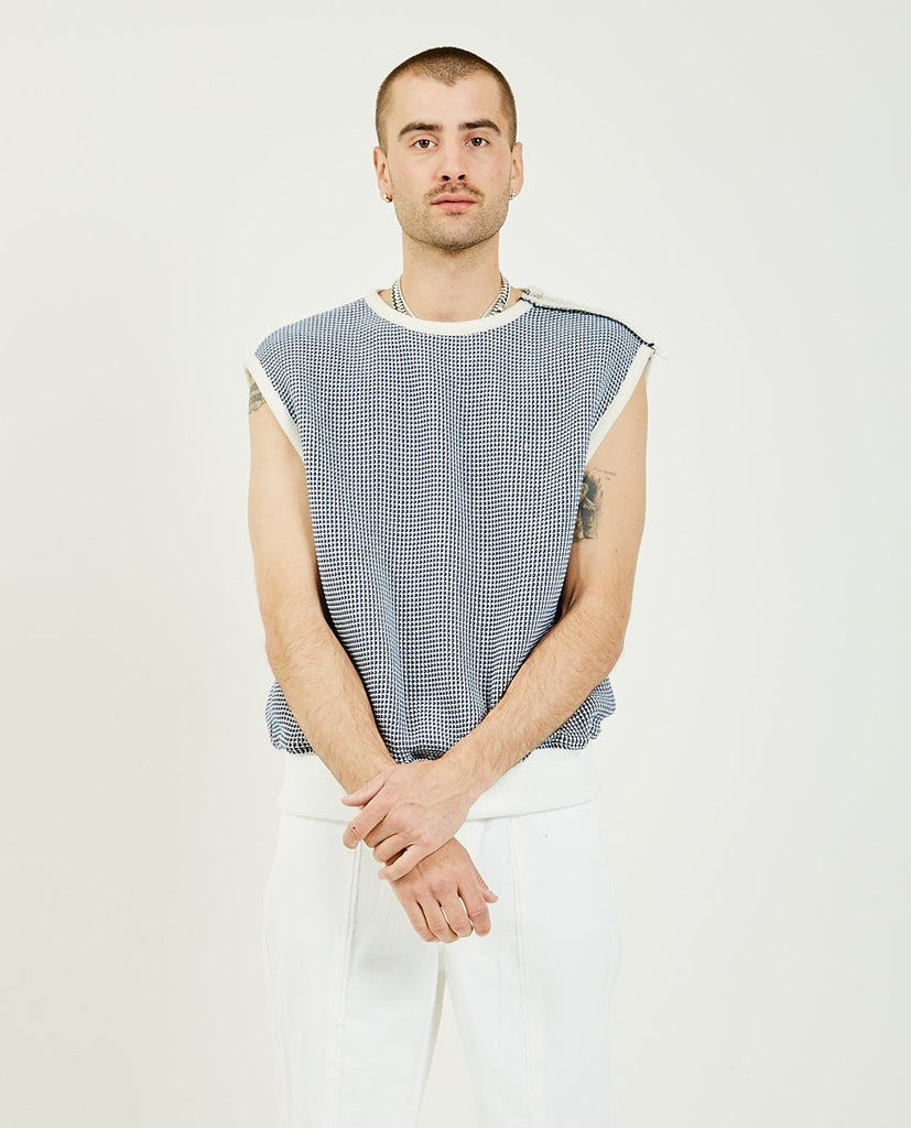 THE MUSEUM VISITOR-Blue String Knit Vest-Men Sweaters + Sweatshirts-{option1]