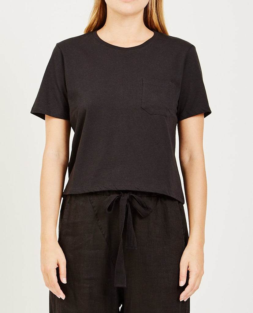 Boxy Crop Tee Black-RICHER POORER-American Rag Cie