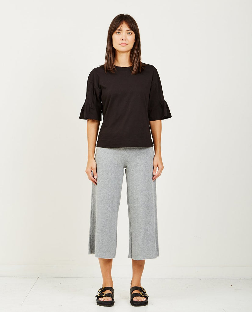 STATESIDE-BRUSHED JERSEY PLEAT SLEEVE TOP-Blouses-{option1]