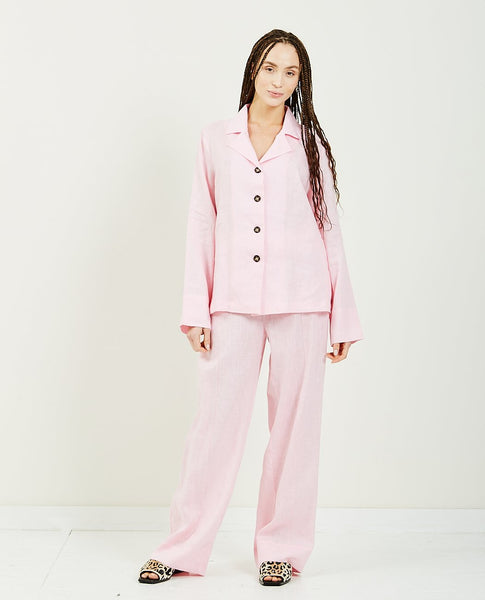 SLEEPER Bubble Gum Linen Pajama Set
