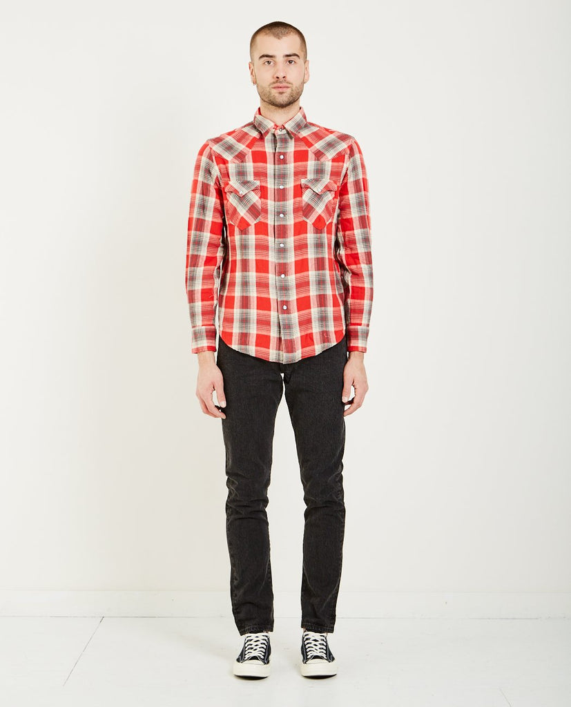 BUFFALO LONG SLEEVE WESTERN SHIRT- GREY RED-RRL-American Rag Cie