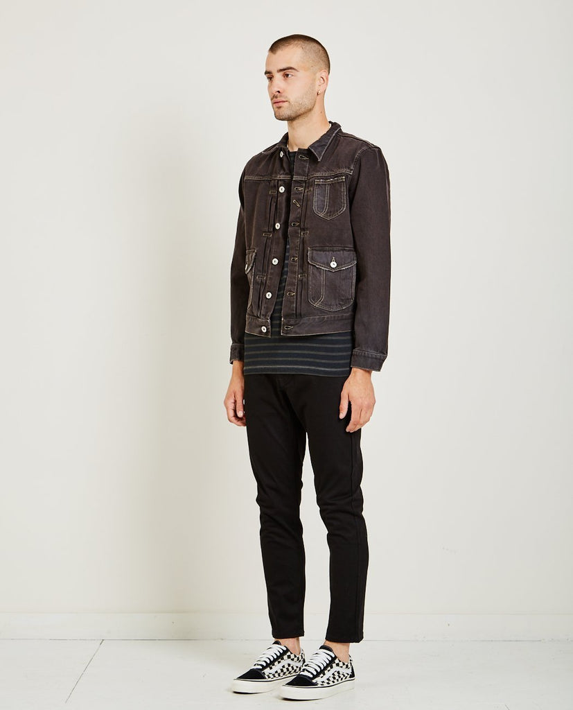 AR321-BULL DENIM JACKET CHARCOAL-Men Coats + Jackets-{option1]