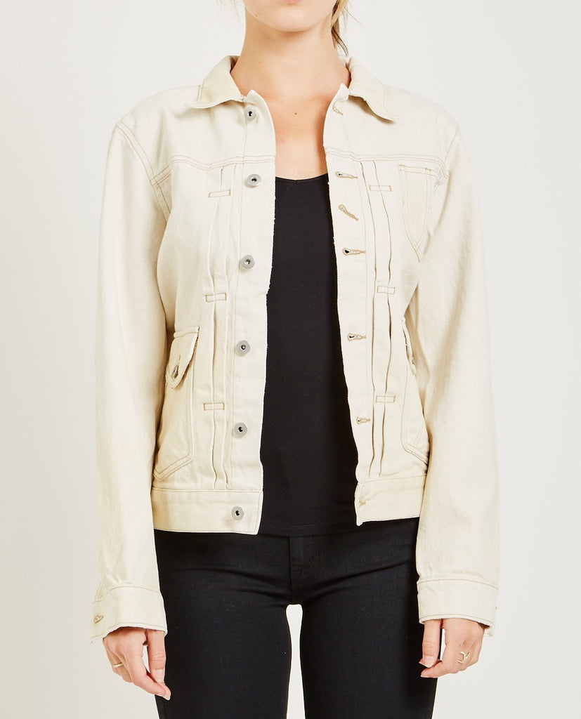 AR321-BULL DENIM JACKET ECRU-Women Coats + Jackets-{option1]