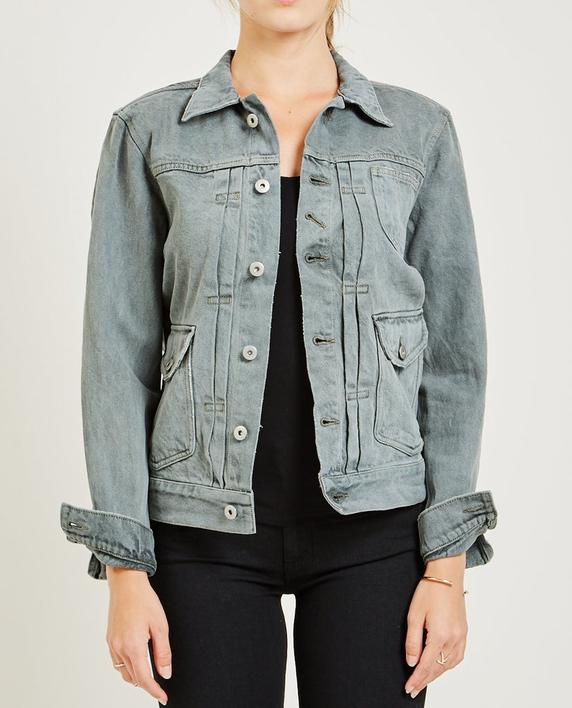 AR321-BULL DENIM JACKET MEDIUM GRAY-Women Coats + Jackets-{option1]