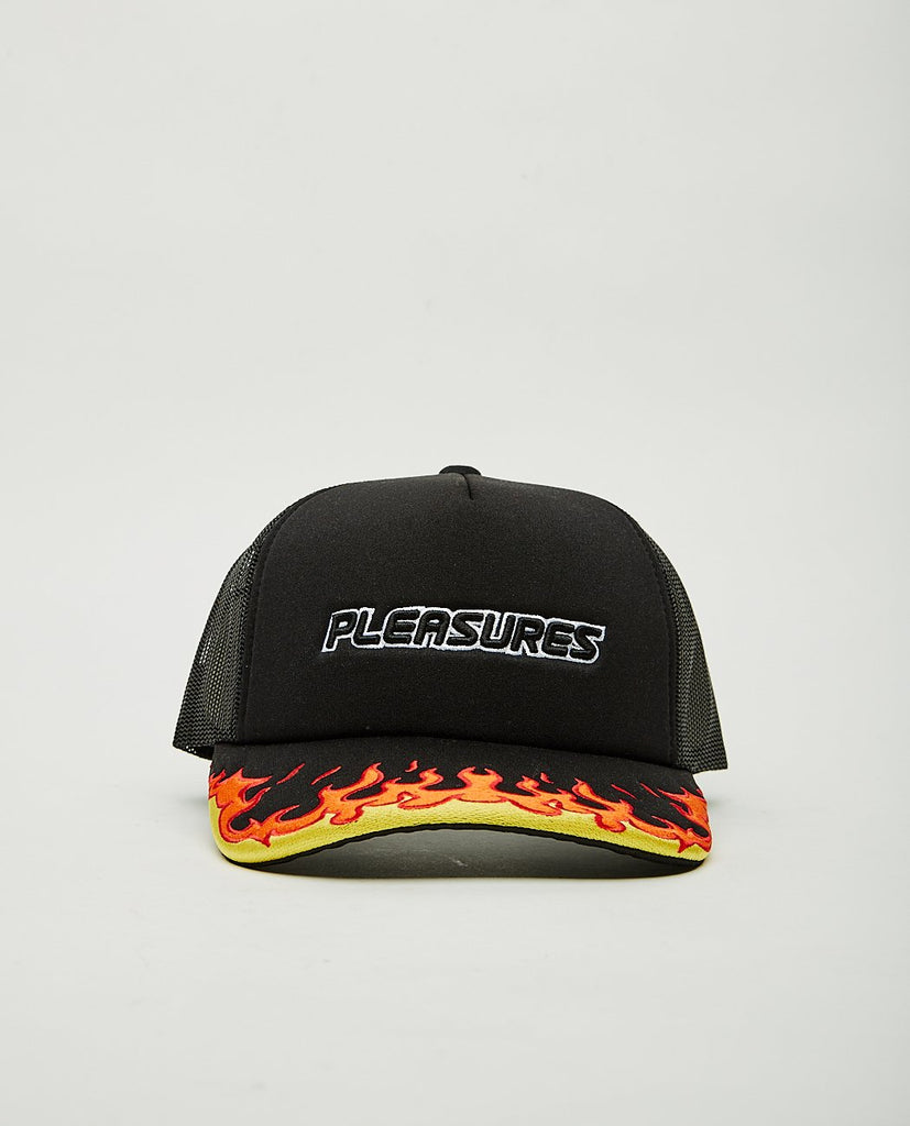 PLEASURES BURN EMBROIDERED TRUCKER