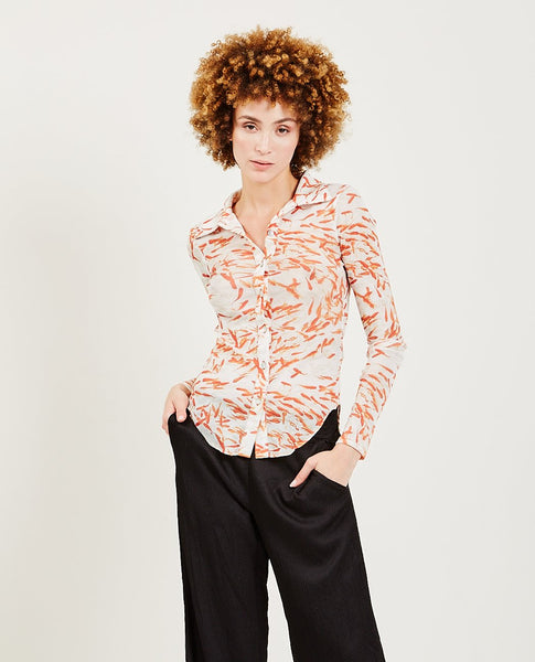 PRISCAVERA Button Down Mesh Top
