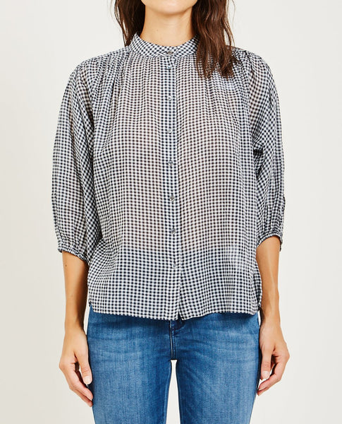 CLOSED BUTTON UP BLOUSE WITH VICHY CHECK