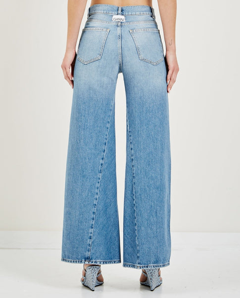 GANNI CAMFIELD DENIM WIDE PANT
