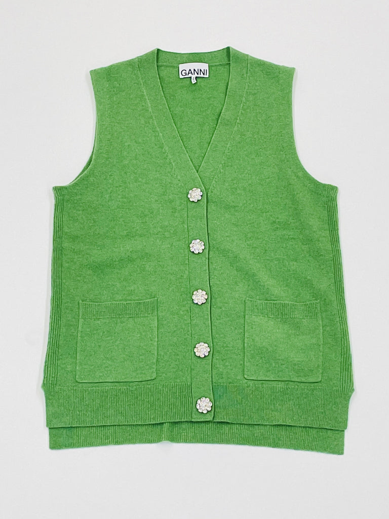 GANNI-Cashmere Knit Vest-Women Sweaters + Sweatshirts-{option1]