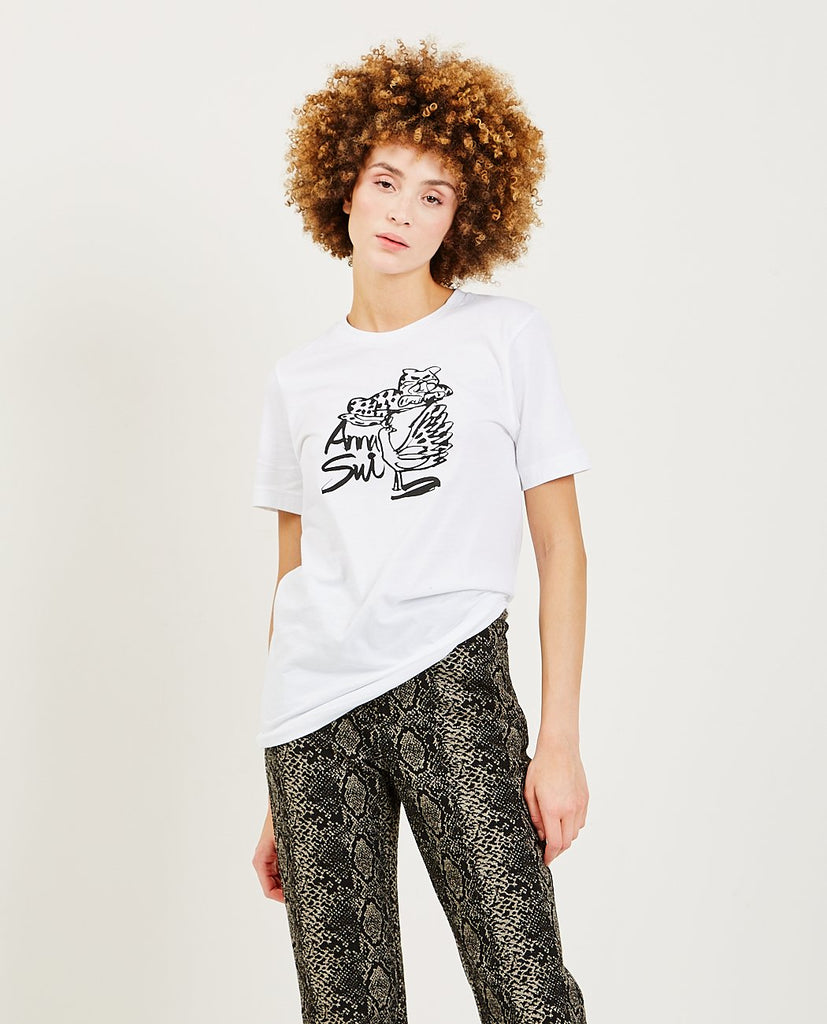 ANNA SUI-Cat Logo Tee-Women Tees + Tanks-{option1]