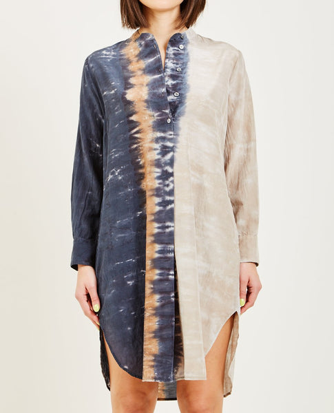 RAQUEL ALLEGRA CAVES TIE DYE HENLEY TUNIC DRESS