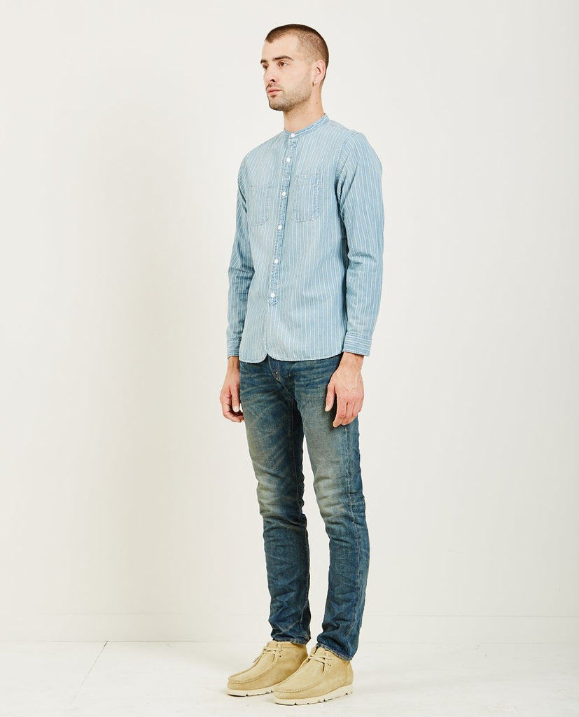 RRL-CHAMBRAY STRIPE WORK SHIRT-Men Shirts-{option1]