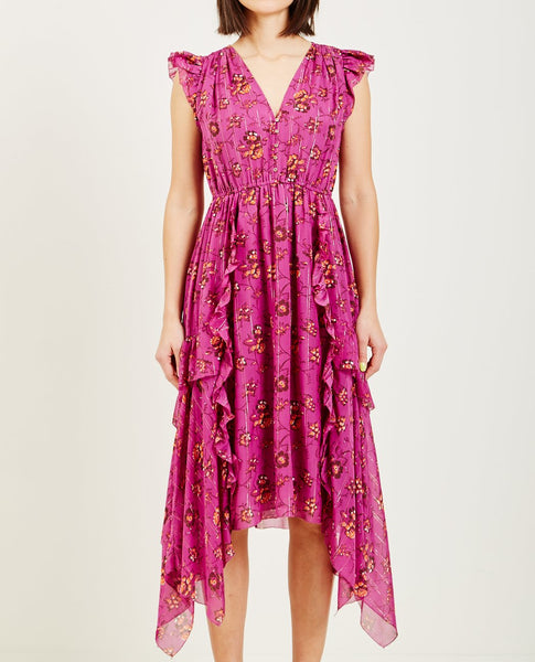 ULLA JOHNSON CIEL DRESS MAGENTA