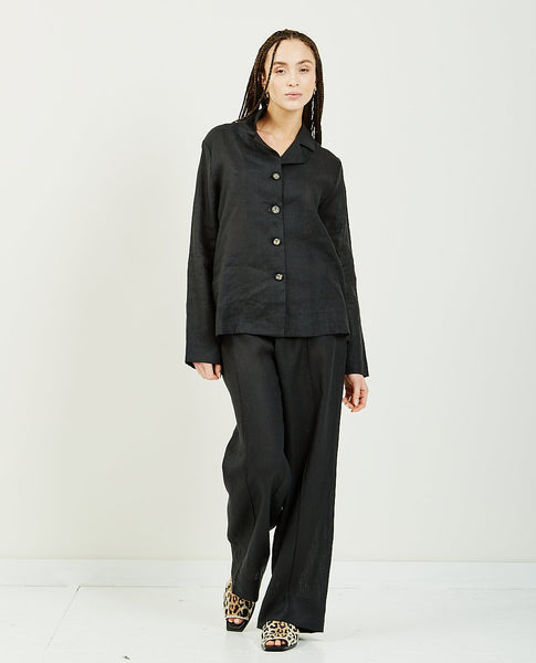 SLEEPER Coal Linen Pajama Set With Pants
