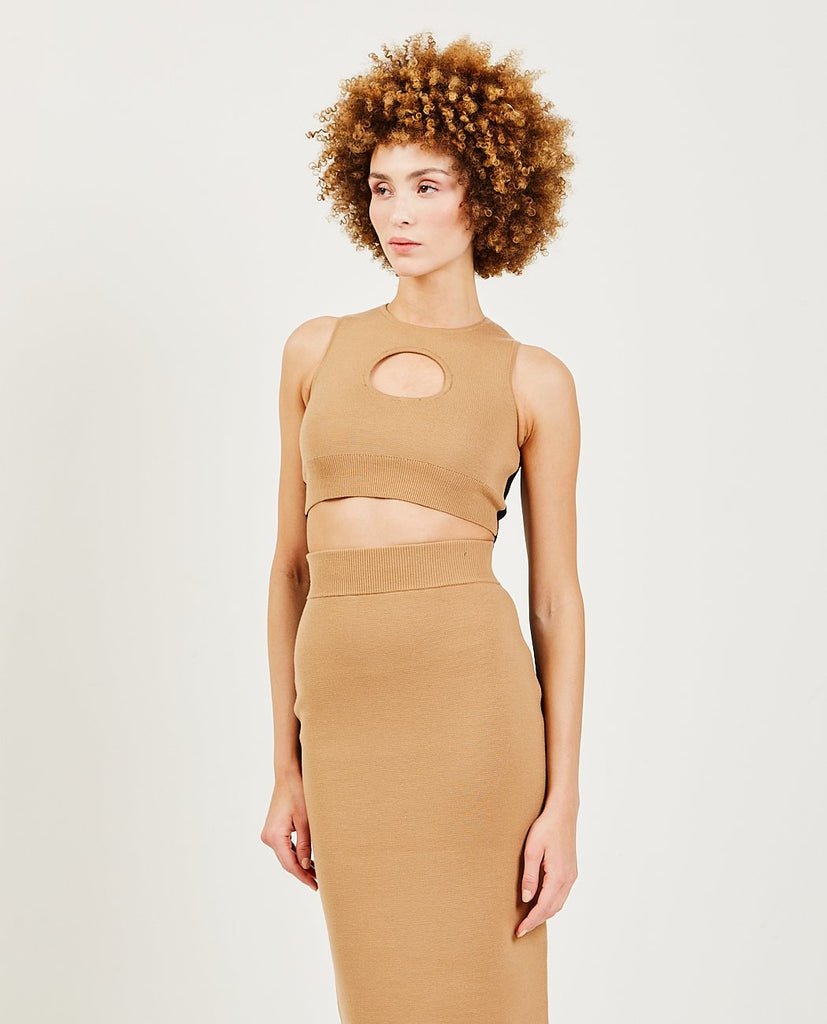 VICTOR GLEMAUD-Color Block Cutout Halter Camel-SUMMER20 Blouses-{option1]