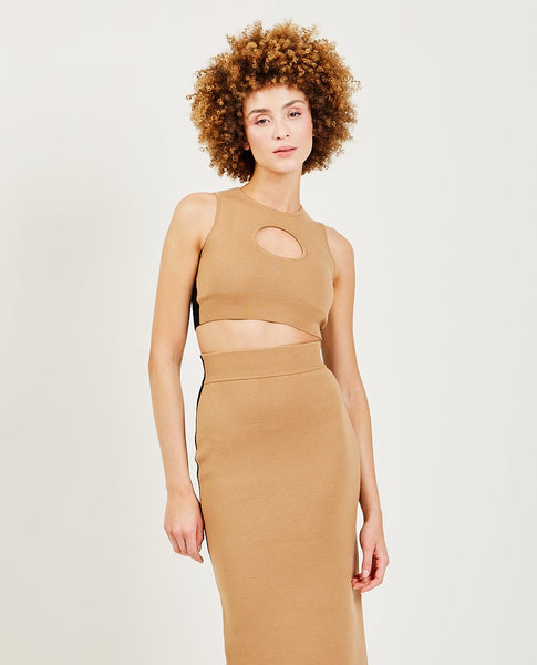 VICTOR GLEMAUD Color Block Cutout Halter Camel