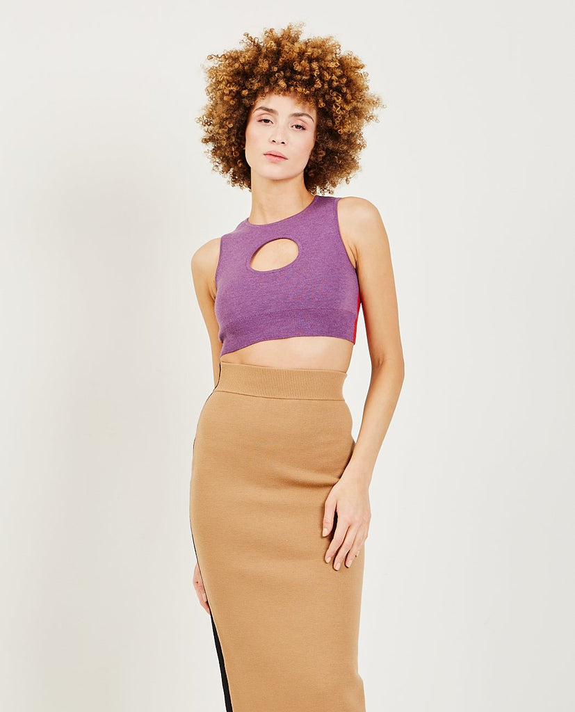 VICTOR GLEMAUD-Color Block Cutout Halter Purple-Blouses-{option1]