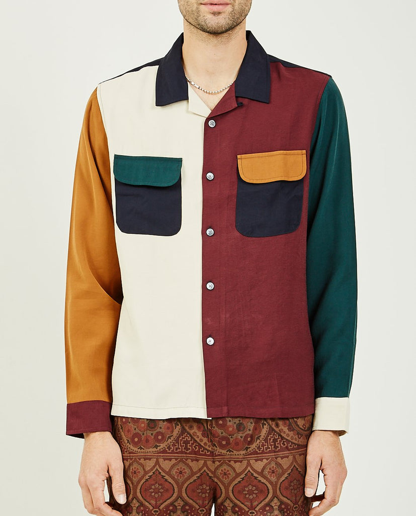 STUSSY-COLOR BLOCK RAYON SHIRT-Men Shirts-{option1]